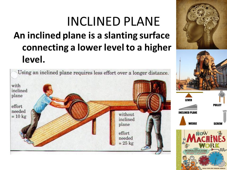 INCLINED PLANE An inclined plane is a slanting surface connecting a lower level to a higher level.
