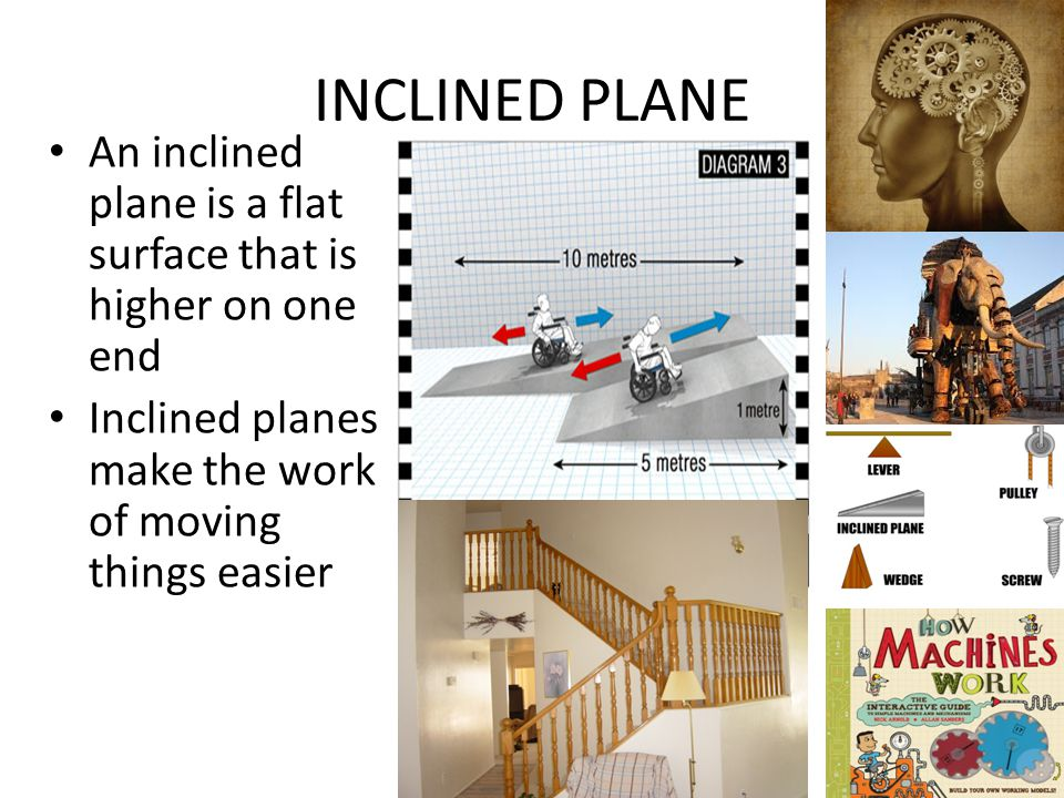INCLINED PLANE An inclined plane is a flat surface that is higher on one end.