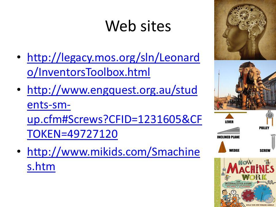 Web sites http://legacy.mos.org/sln/Leonardo/InventorsToolbox.html