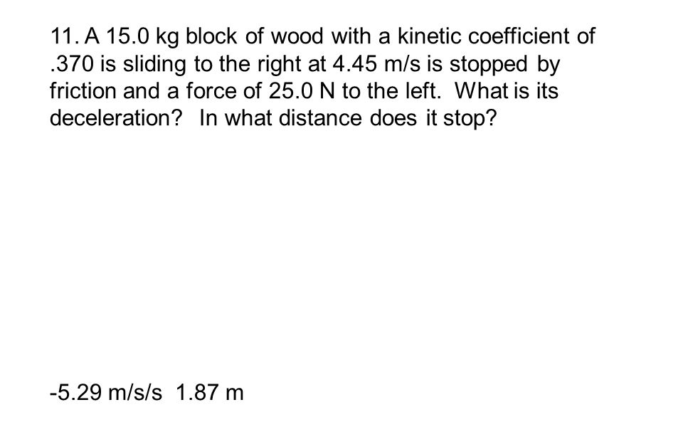 11. A 15. 0 kg block of wood with a kinetic coefficient of