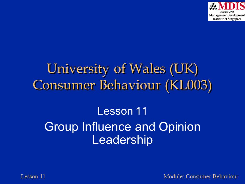 University of Wales (UK) Consumer Behaviour (KL003)