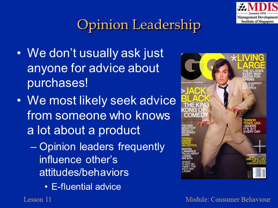 Opinion Leadership We don't usually ask just anyone for advice about purchases!