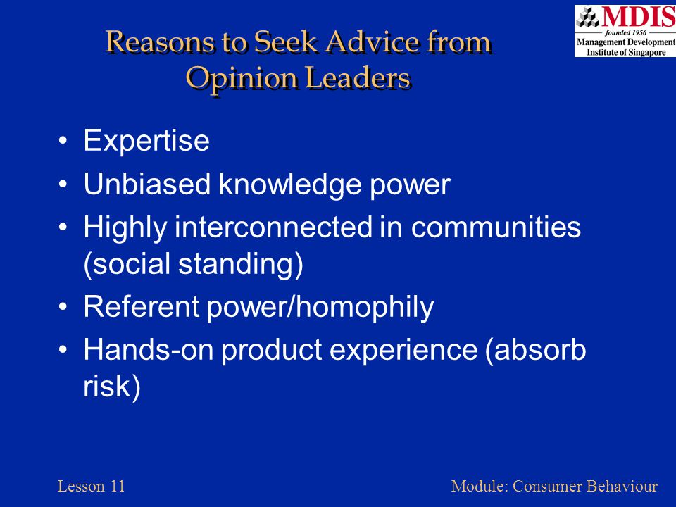 Reasons to Seek Advice from Opinion Leaders