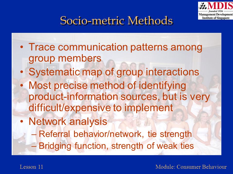 Socio-metric Methods Trace communication patterns among group members