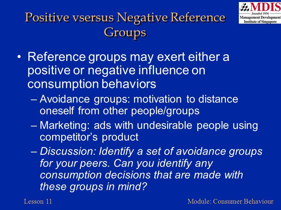 Positive vsersus Negative Reference Groups