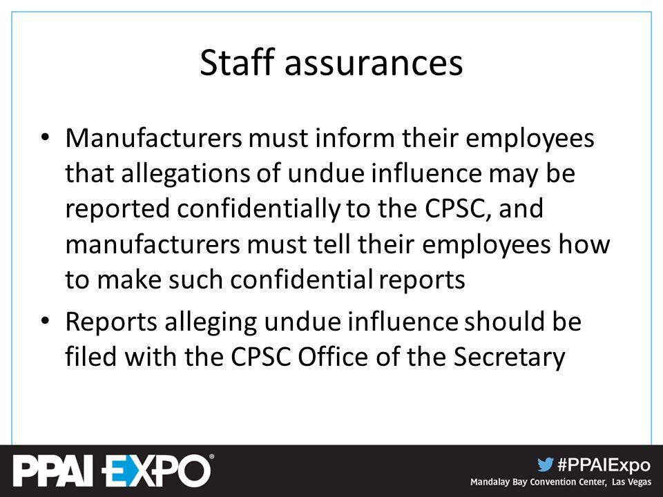 Staff assurances