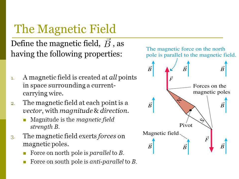 The Magnetic Field Define the magnetic field, , as having the following properties: