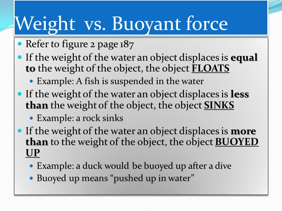 Weight vs. Buoyant force