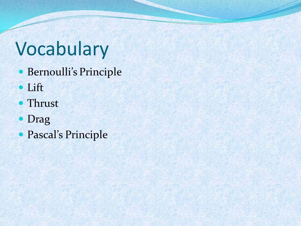 Vocabulary Bernoulli's Principle Lift Thrust Drag Pascal's Principle