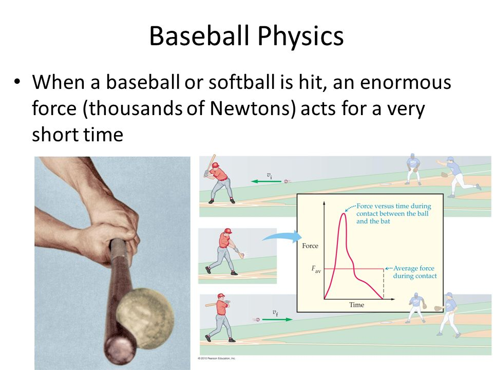 Baseball Physics When a baseball or softball is hit, an enormous force (thousands of Newtons) acts for a very short time.