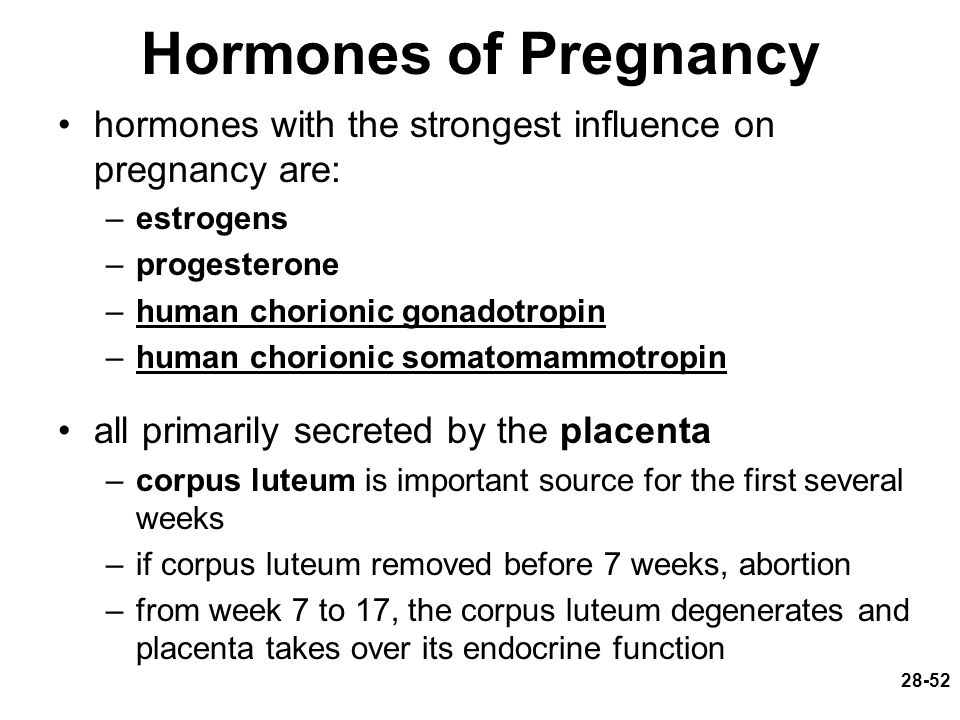 Hormones of Pregnancy hormones with the strongest influence on pregnancy are: estrogens. progesterone.