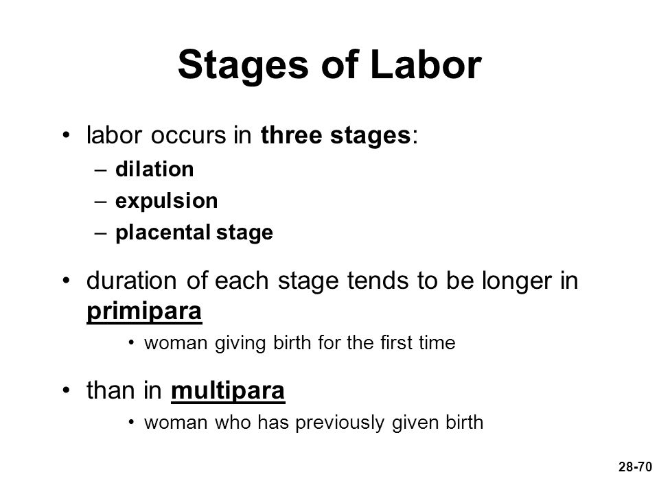 Stages of Labor labor occurs in three stages: