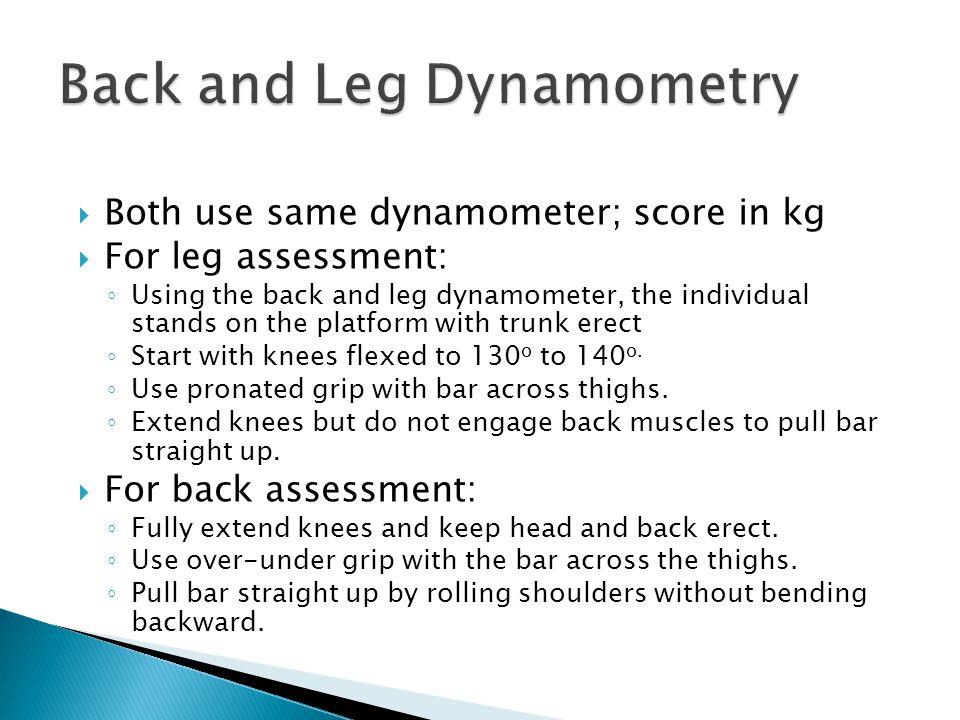Back and Leg Dynamometry