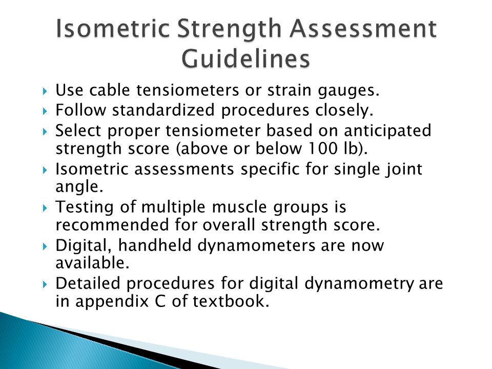 Isometric Strength Assessment Guidelines