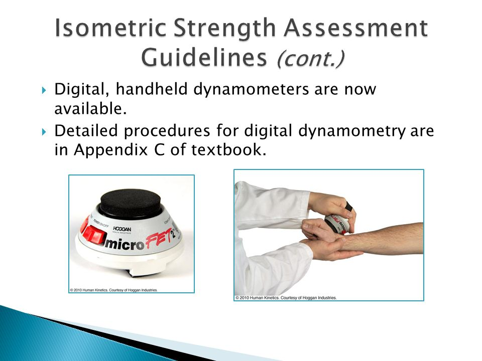 Isometric Strength Assessment Guidelines (cont.)