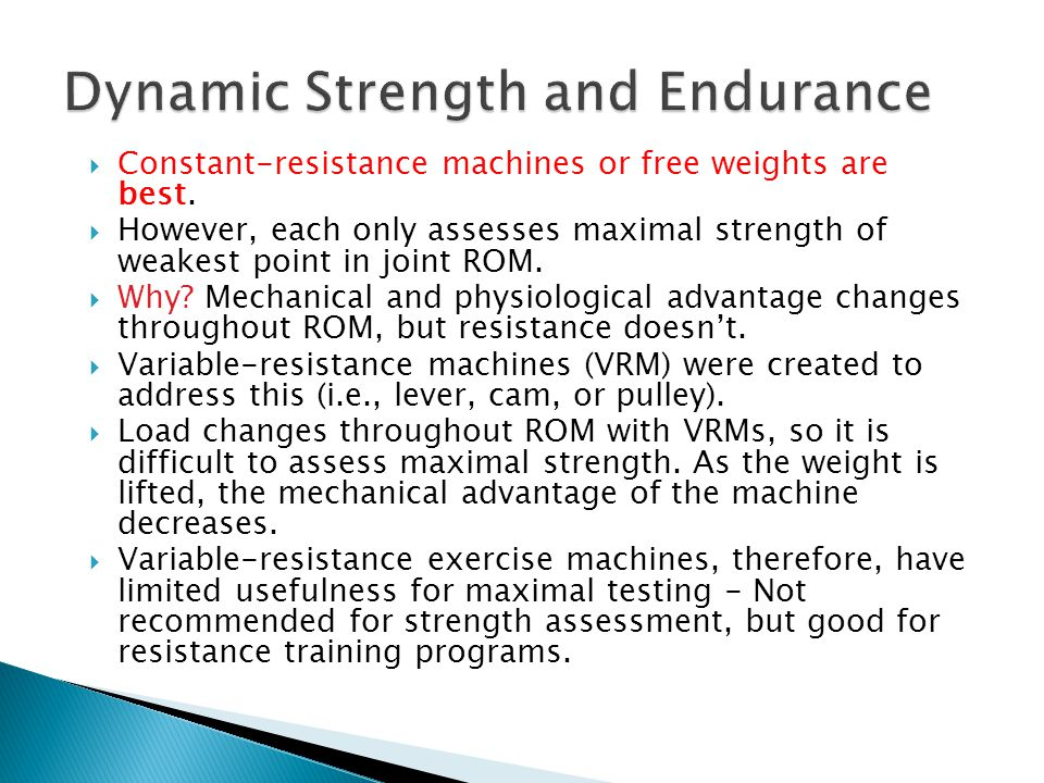 Dynamic Strength and Endurance