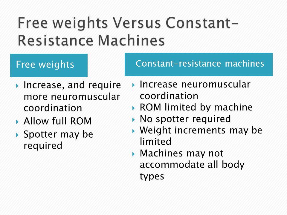 Free weights Versus Constant-Resistance Machines
