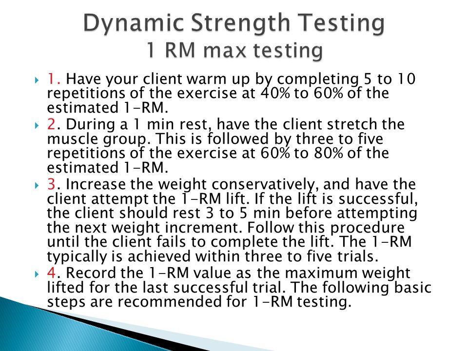 Dynamic Strength Testing 1 RM max testing
