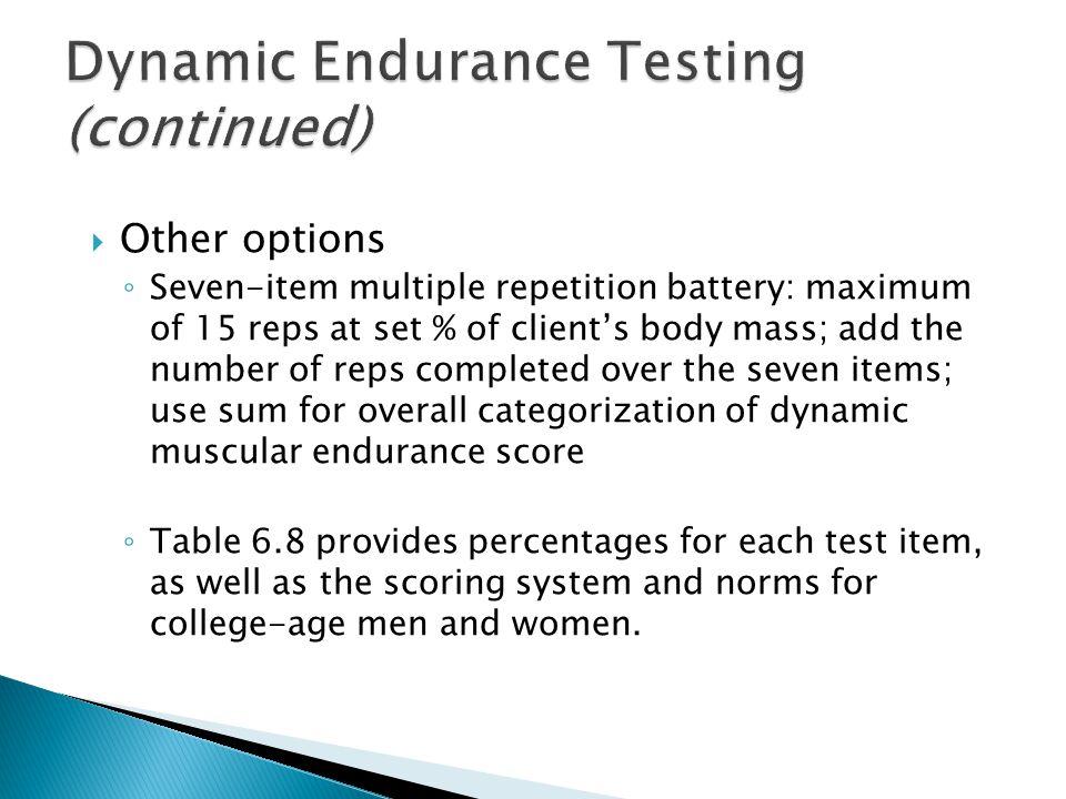 Dynamic Endurance Testing (continued)