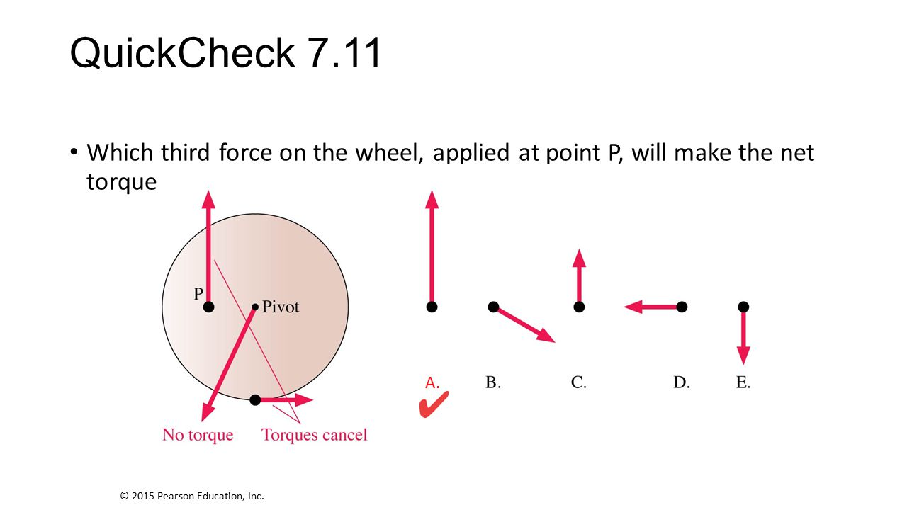 QuickCheck 7.11 Which third force on the wheel, applied at point P, will make the net torque zero