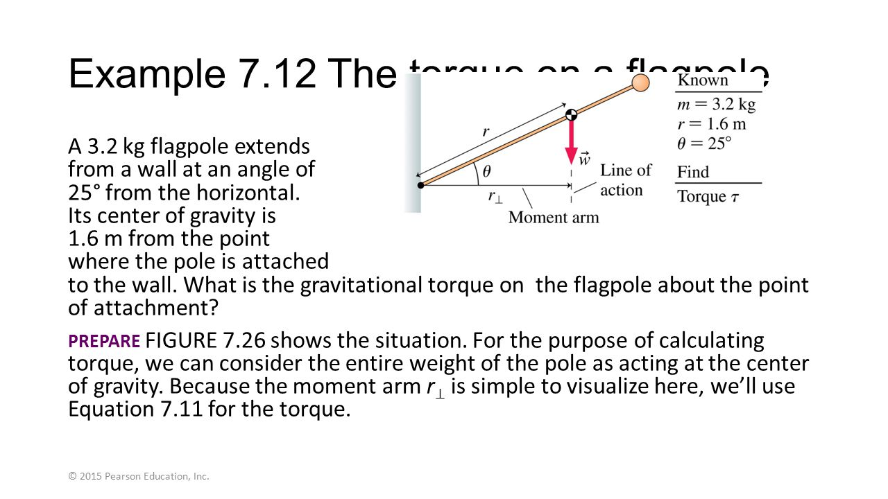 Example 7.12 The torque on a flagpole