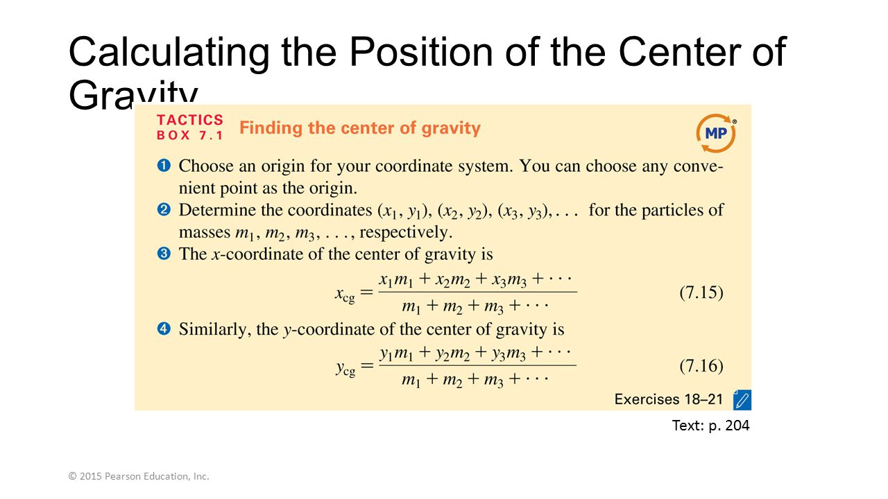 Calculating the Position of the Center of Gravity
