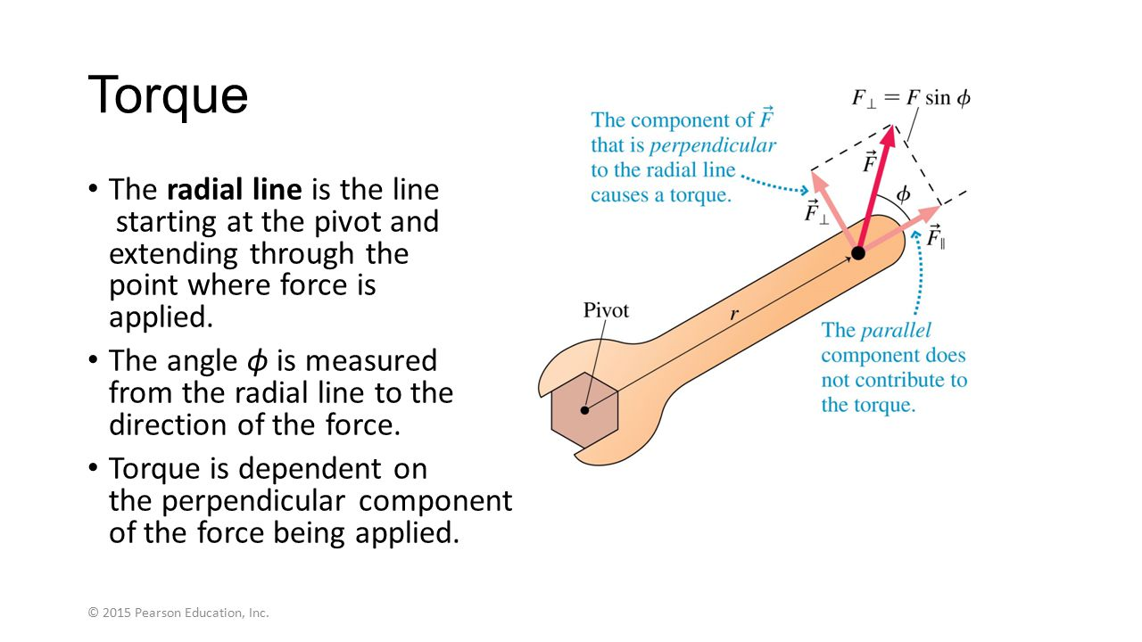 Torque The radial line is the line starting at the pivot and extending through the point where force is applied.
