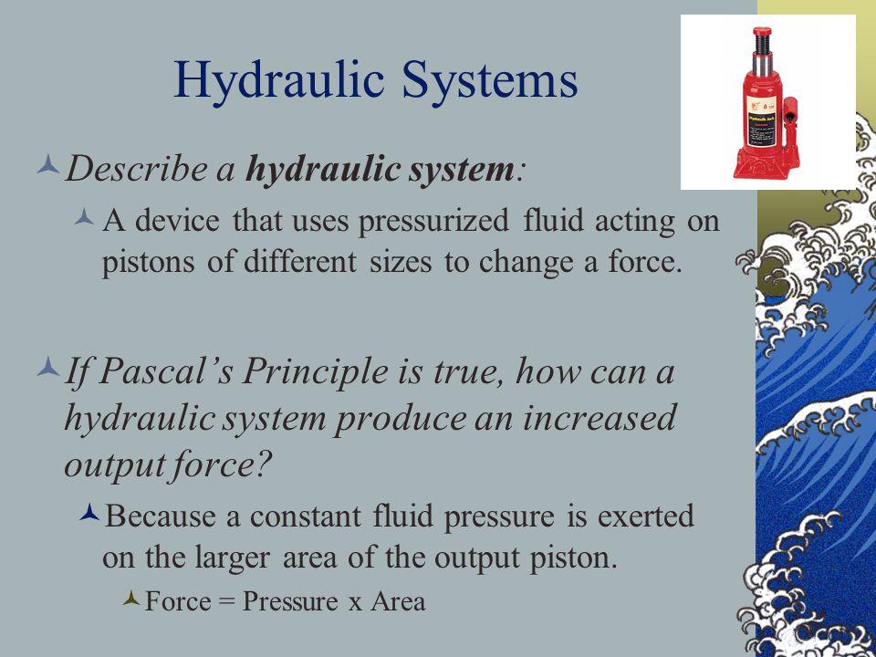 Hydraulic Systems Describe a hydraulic system: