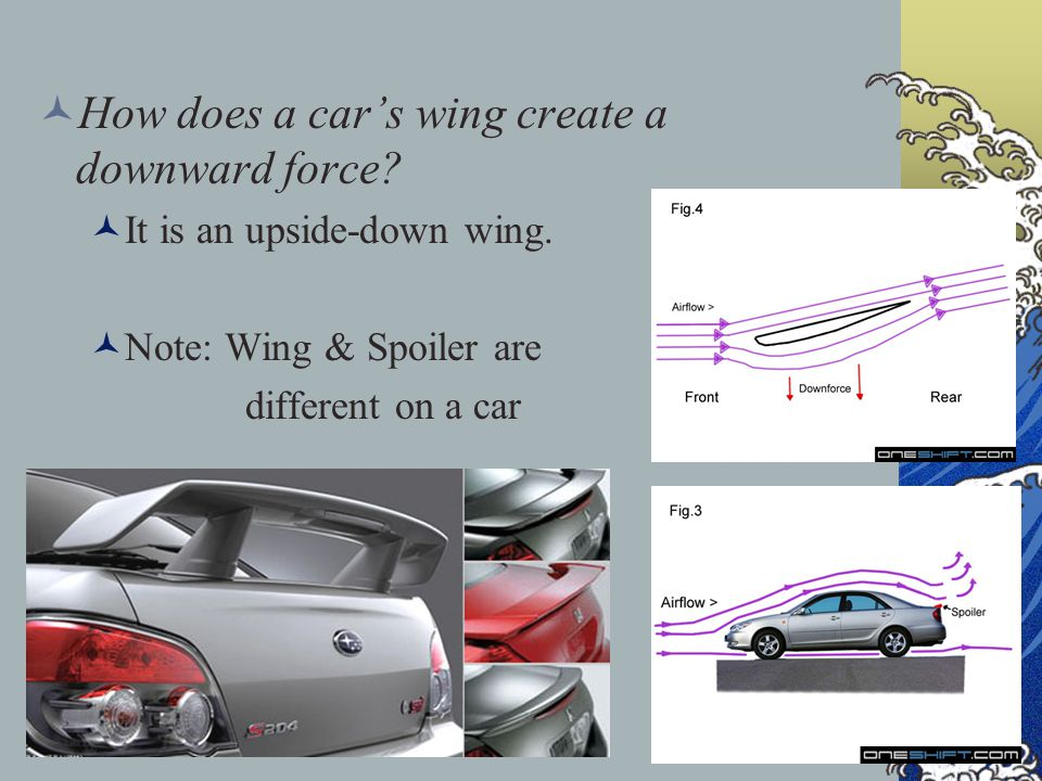 How does a car's wing create a downward force