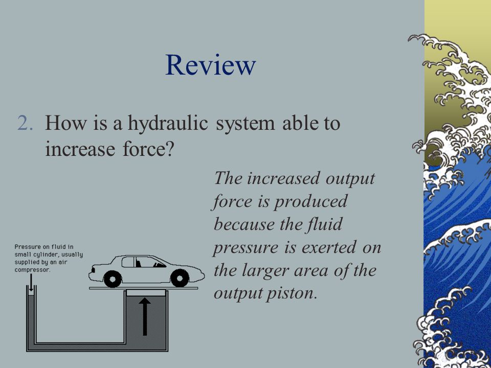 Review How is a hydraulic system able to increase force