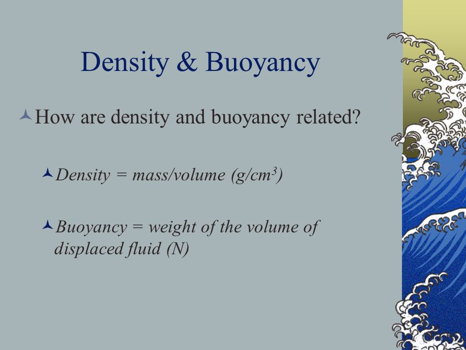 Density & Buoyancy How are density and buoyancy related