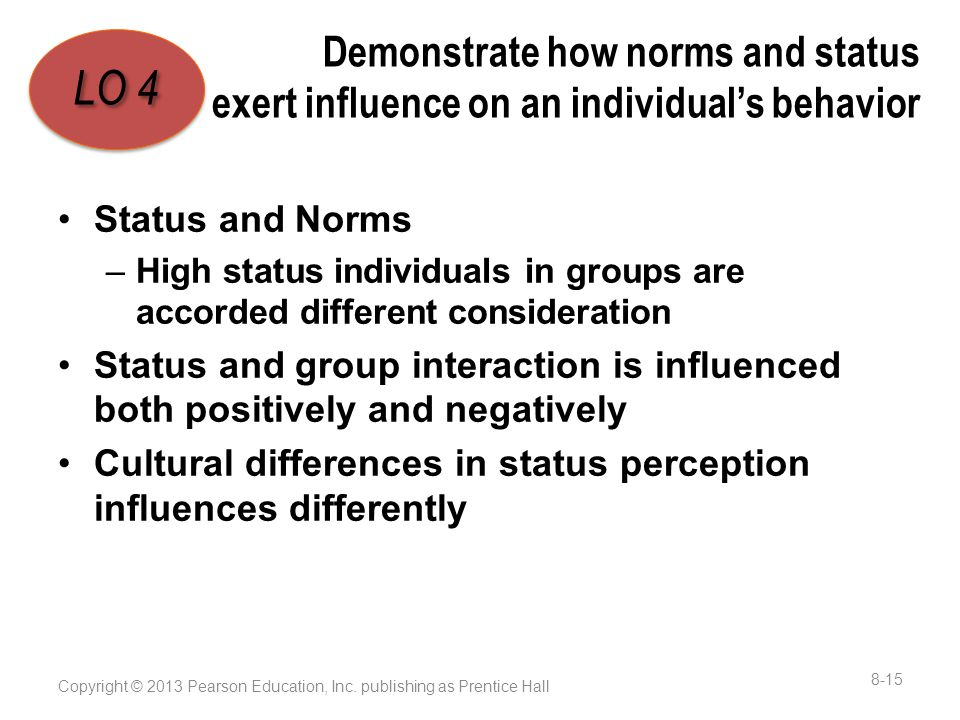 Demonstrate how norms and status exert influence on an individual's behavior