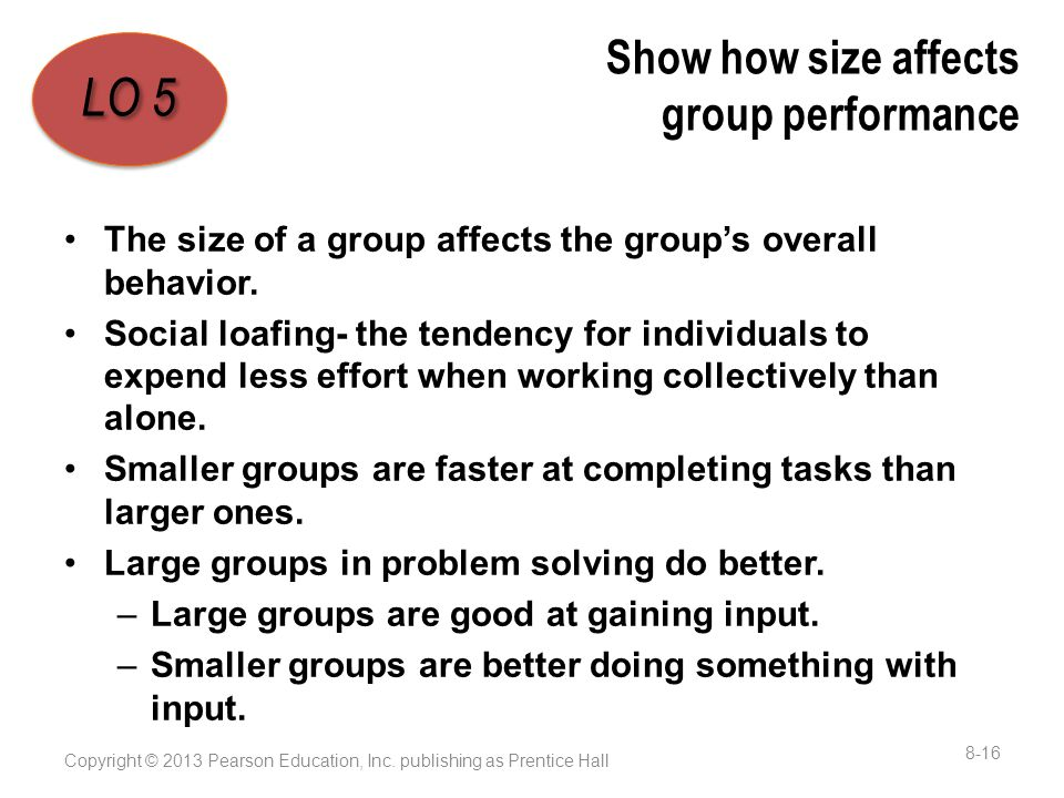 Show how size affects group performance