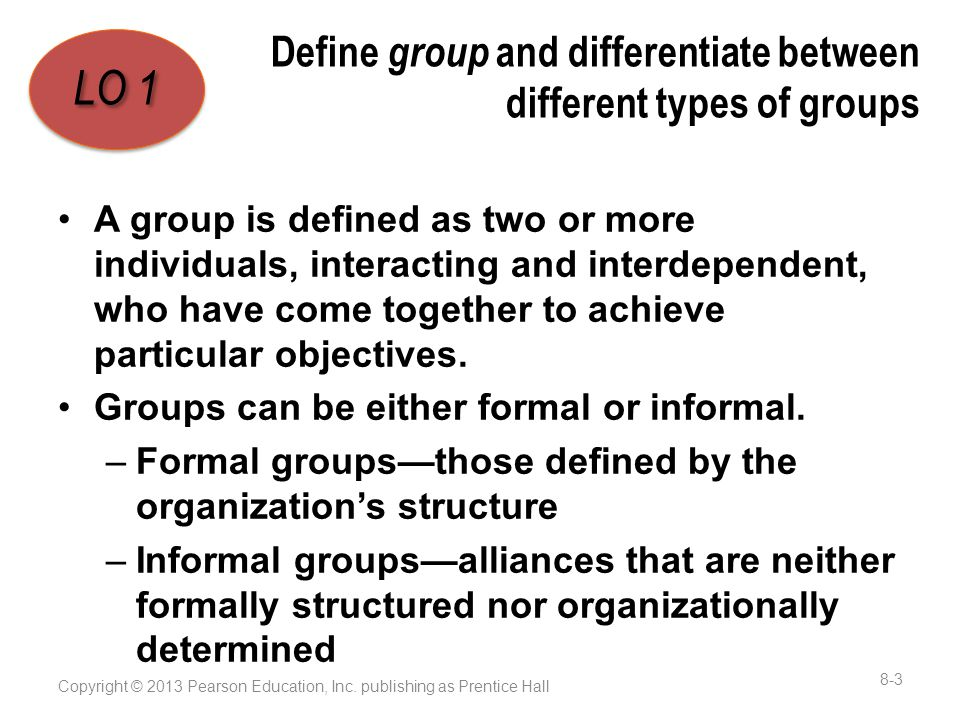 Define group and differentiate between different types of groups