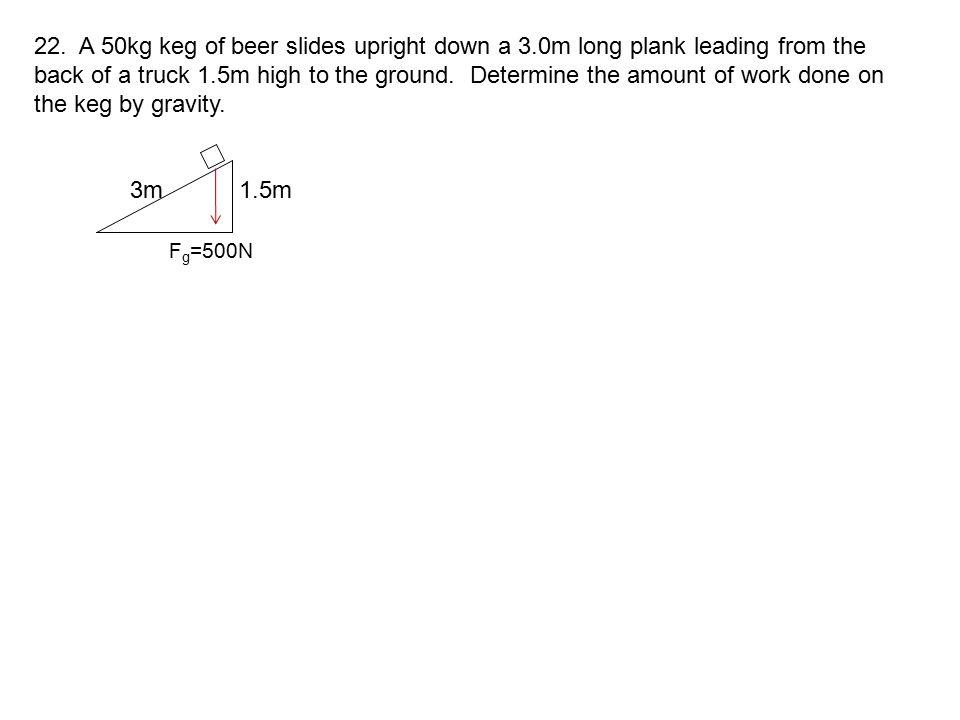 22. A 50kg keg of beer slides upright down a 3