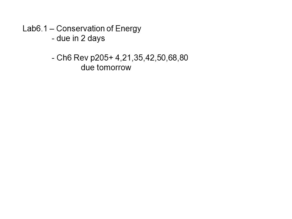 Lab6.1 – Conservation of Energy