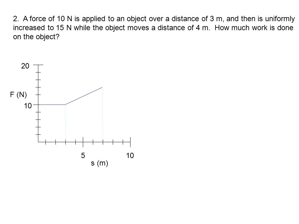 2. A force of 10 N is applied to an object over a distance of 3 m, and then is uniformly increased to 15 N while the object moves a distance of 4 m. How much work is done on the object