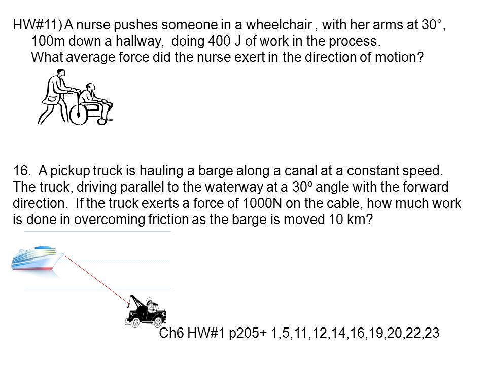 HW#11) A nurse pushes someone in a wheelchair , with her arms at 30°, 100m down a hallway, doing 400 J of work in the process.