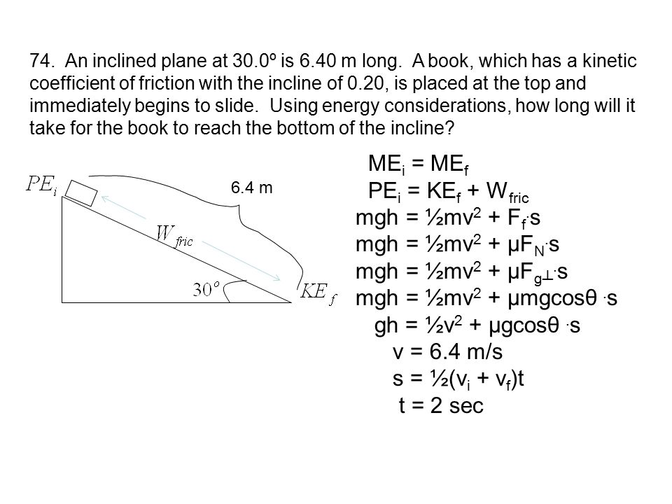MEi = MEf PEi = KEf + Wfric mgh = ½mv2 + Ff.s mgh = ½mv2 + µFN.s