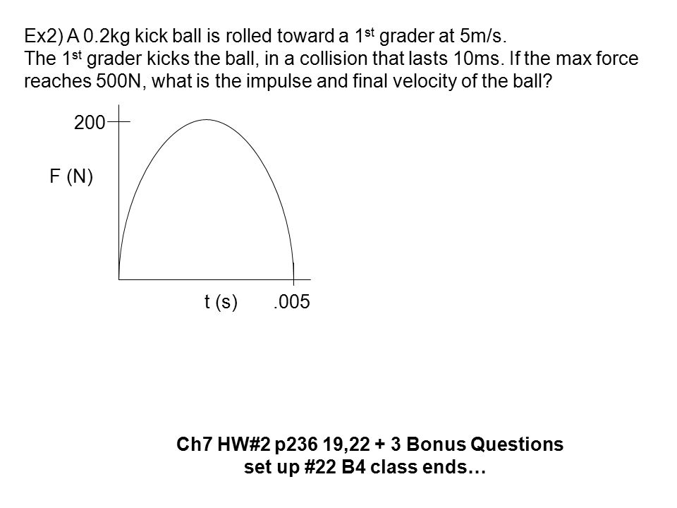 Ex2) A 0.2kg kick ball is rolled toward a 1st grader at 5m/s.