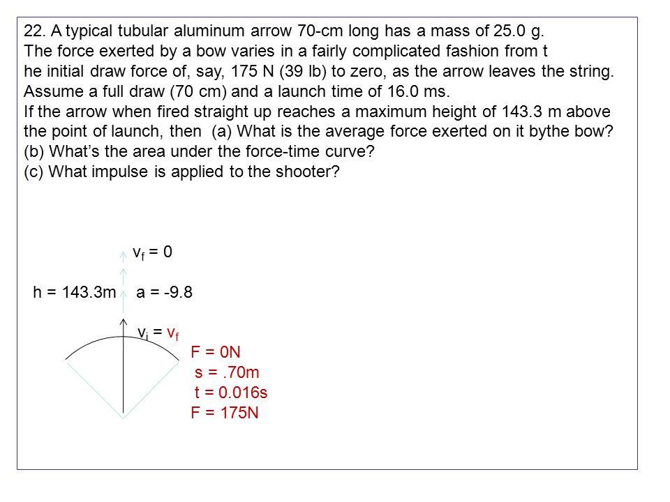 22. A typical tubular aluminum arrow 70-cm long has a mass of 25.0 g.