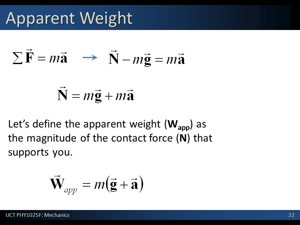 Apparent Weight Let's define the apparent weight (Wapp) as the magnitude of the contact force (N) that supports you.