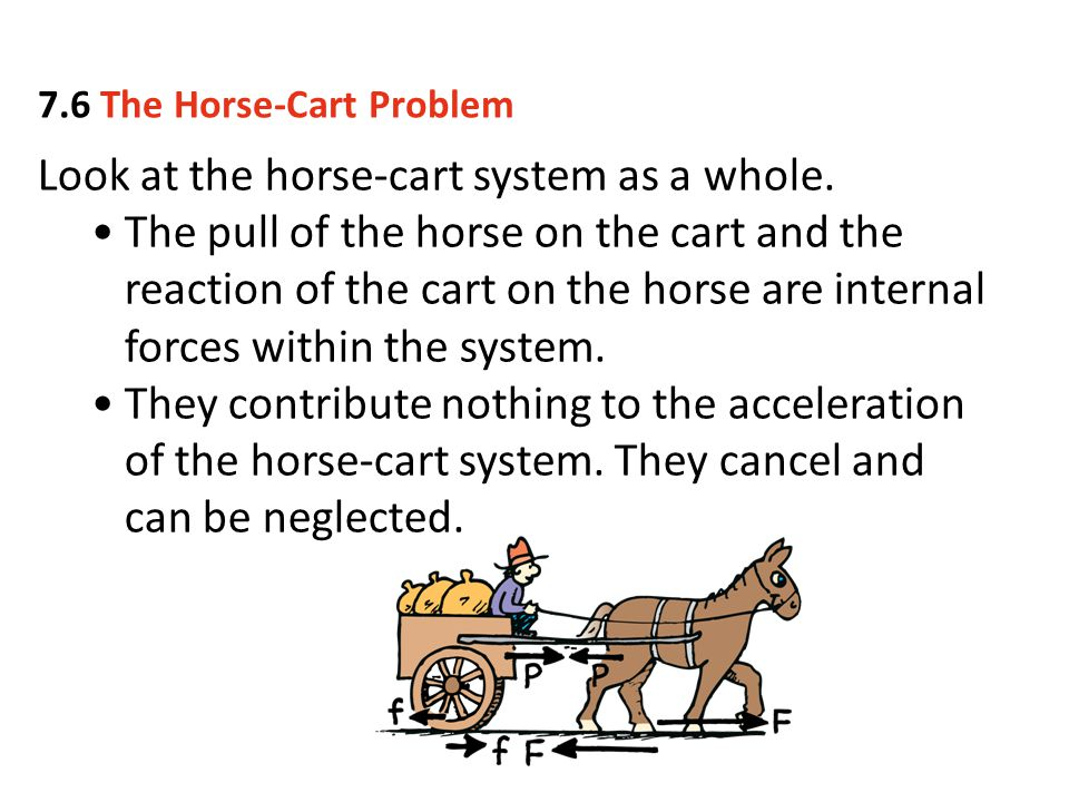 Look at the horse-cart system as a whole.