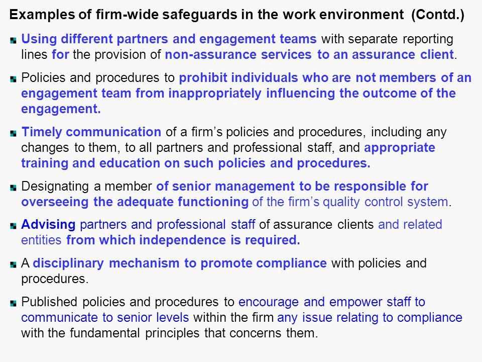 Examples of firm-wide safeguards in the work environment (Contd.)
