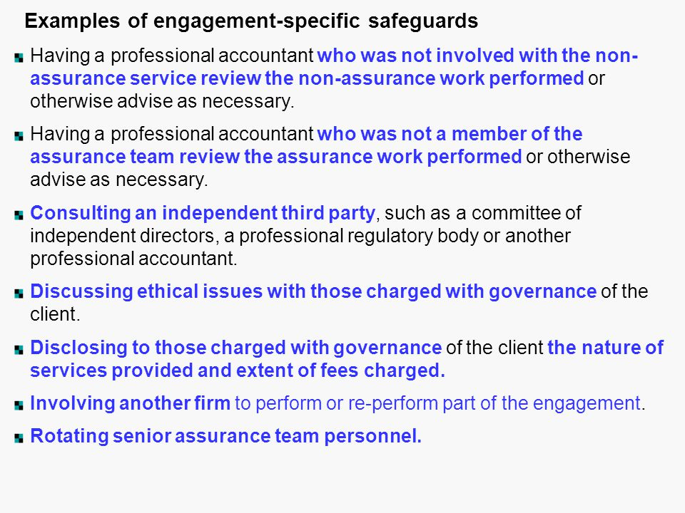 Examples of engagement-specific safeguards