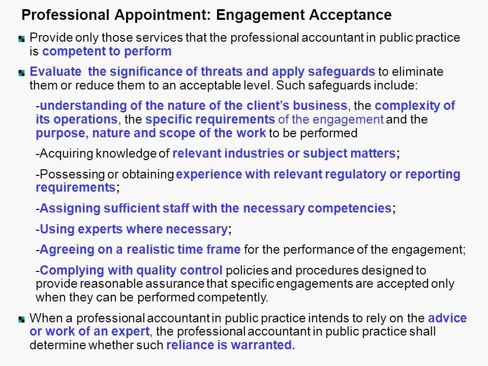 Professional Appointment: Engagement Acceptance