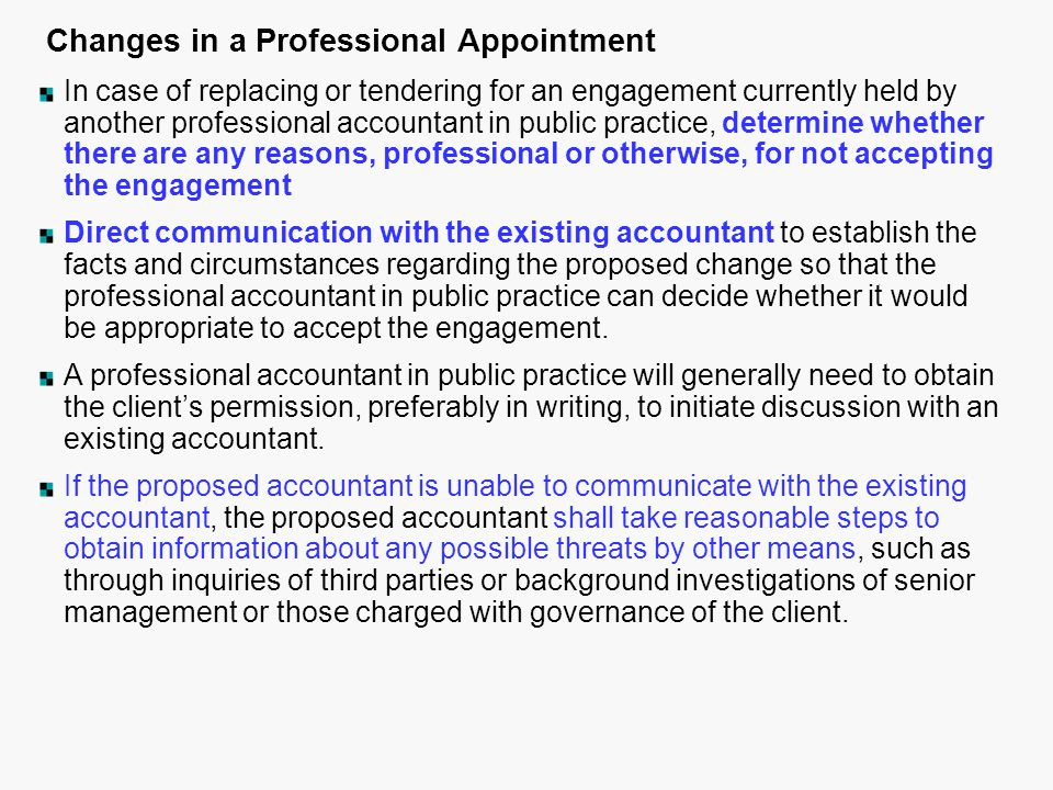 Changes in a Professional Appointment
