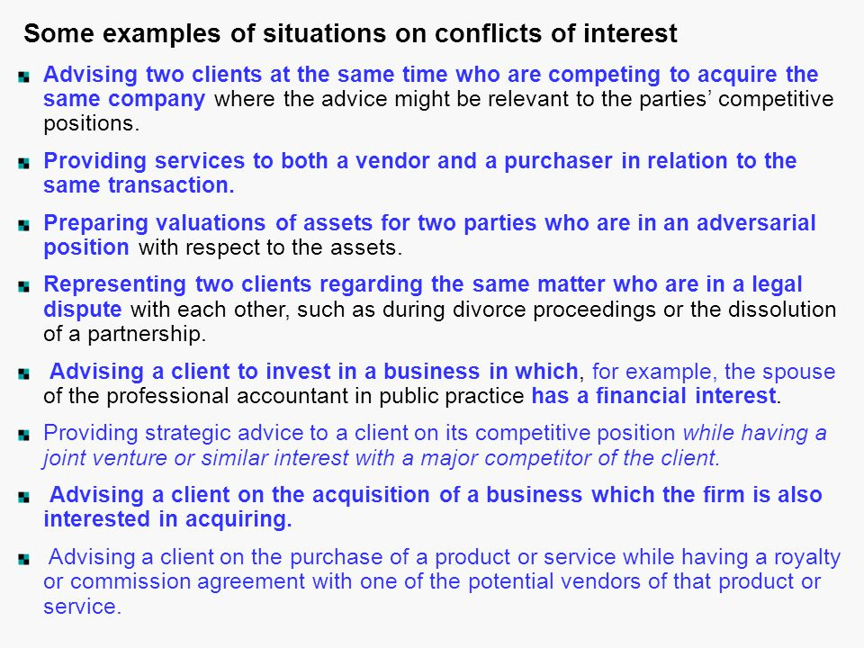 Some examples of situations on conflicts of interest