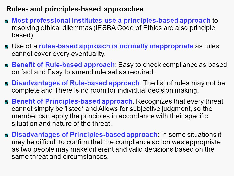 Rules- and principles-based approaches