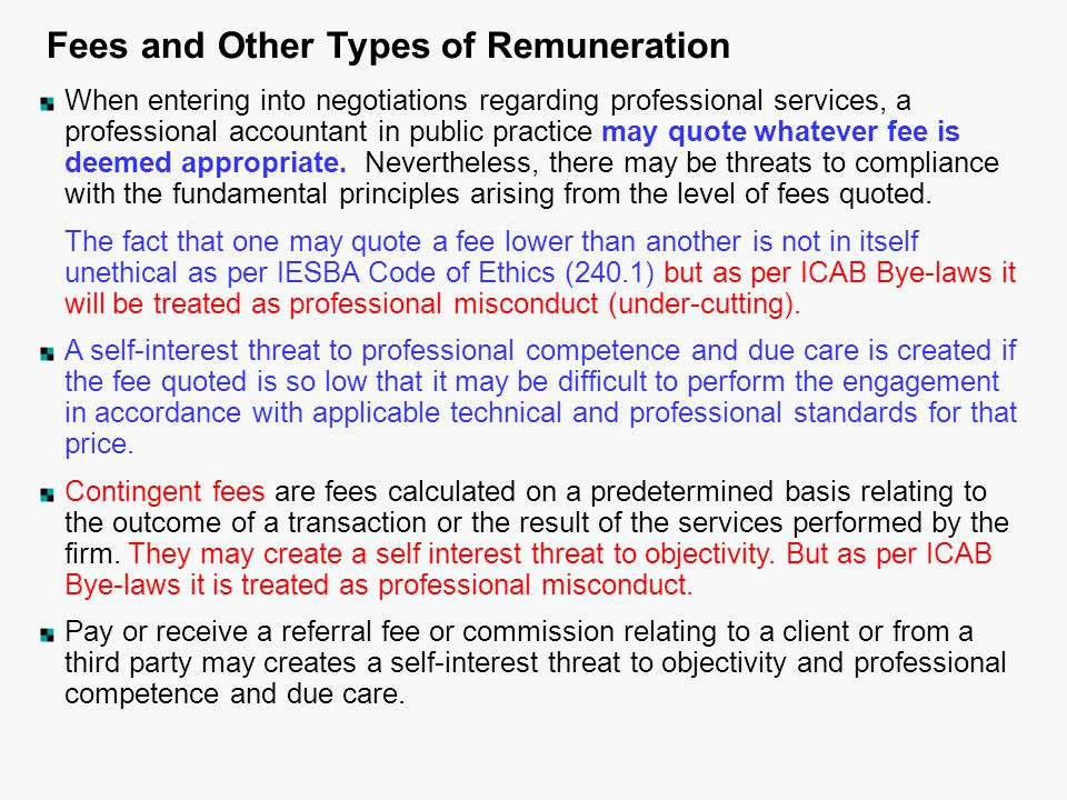 Fees and Other Types of Remuneration